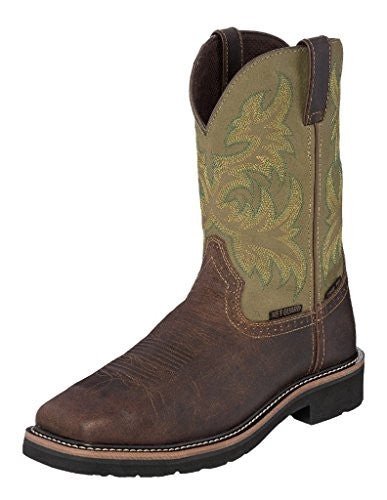 Justin Work Boots Mens Steel Toe Wp Met Guard, Brown, Green