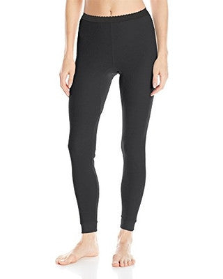 Indera Women's Performance Rib Knit Thermal Underwear Bottoms with Silvadur - Black