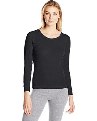 Indera Women's Performance Rib Knit Thermal Underwear Top with Silvadur - Black