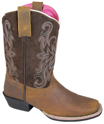 Smoky Mountain Girls Waverly Brown Distress Suede Sq Toe