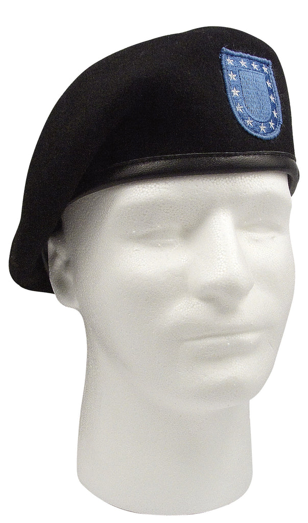 Rothco Hats: Inspection Ready Black Wool Beret With Flash