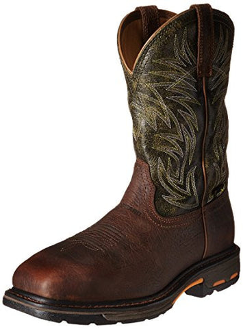 Ariat Boots: Men's Workhog Wide Square, Ridge Brown/moss Green
