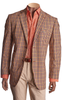 Inserch Blazer Jacket: Check Linen Blazer with Trim 5302-29 Orange
