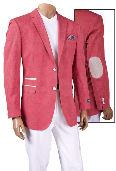 INSERCH  BLAZER SPRING JACKET WITH CONTRAST POCKET TRIM AND ELBOW PATCH STYLE 537-86 CRANBERRY