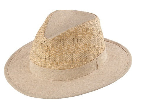 Henschel: Crushable Wool Linen Safari Breezer Hat Natural