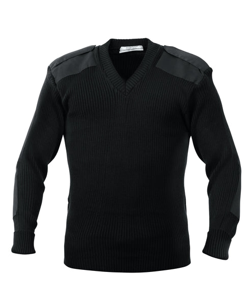 Rothco Sweater: G.I. Style Acrylic V-Neck Sweater - Black