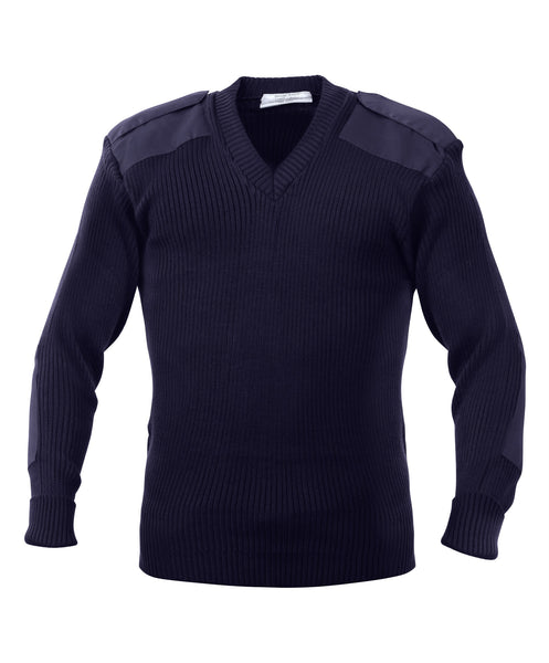 Rothco Sweater: G.I. Style Acrylic V-Neck Sweater - Navy Blue