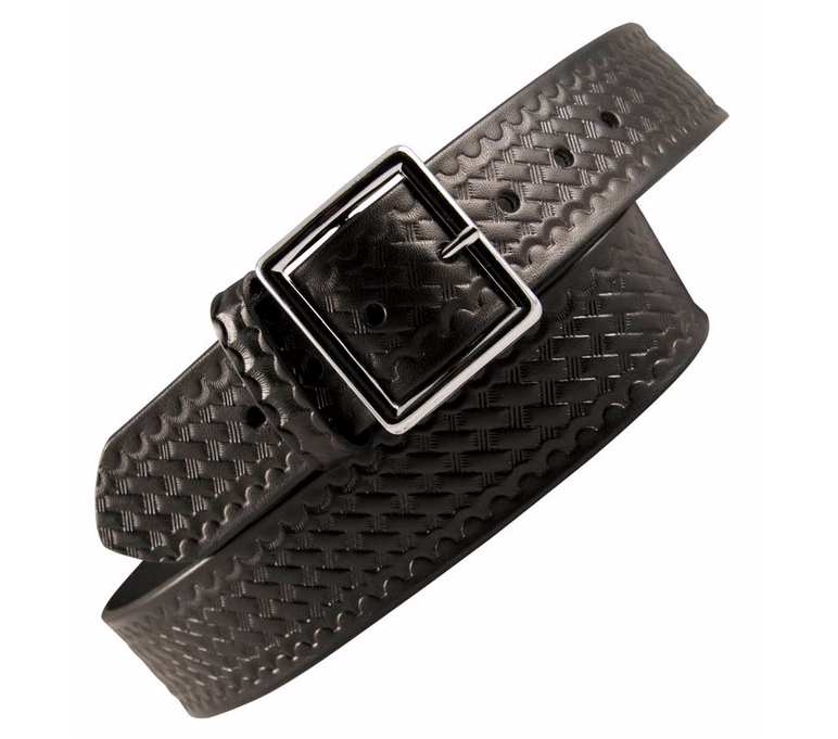 "Boston Leather 1-3/4"" Garrison Duty Belt Basket Weave Black"