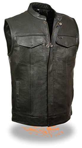 Soa Motorcycle Vest With Snap & Zipper-front Closure