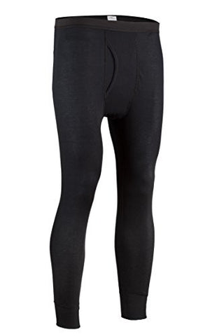 Indera Men's Performance Rib Knit Thermal Underwear Pant With Silvadur - Black