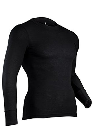 Indera Men's Performance Rib Knit Thermal Underwear Top With Silvadur - Black