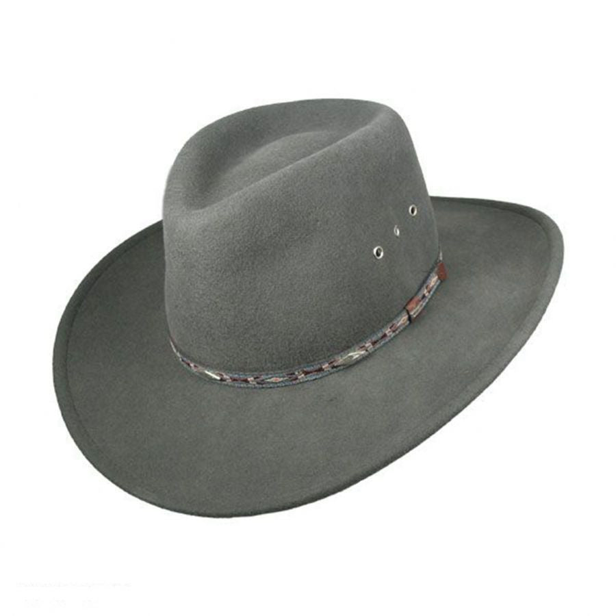 Stetson Hats: Elkhorn Crushable Wool Fedora with Eyelets Olive