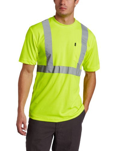 Key Apparel Men's Short Sleeve High Visibility Waffle Weave Reflective Stripe Pocket Tee Shirt
