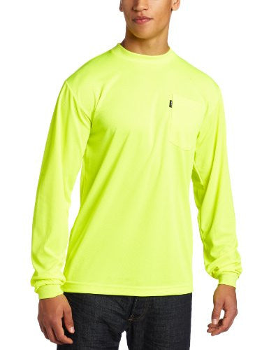 Key Apparel Men's Long Sleeve Enhanced Visibility Waffle Weave Pocket Tee Shir