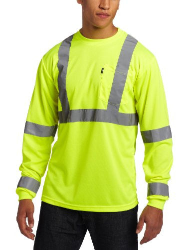 Key Apparel Men's Long Sleeve High Visibility Waffle Weave Reflective Stripe Pocket Tee Shirt