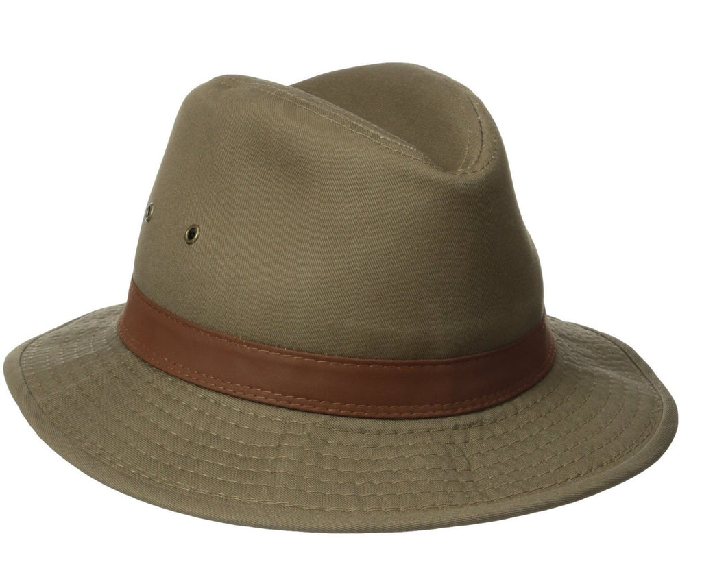 Dorfman Pacific:  1 Piece Canvas Leather Trim Safari Hat Bark