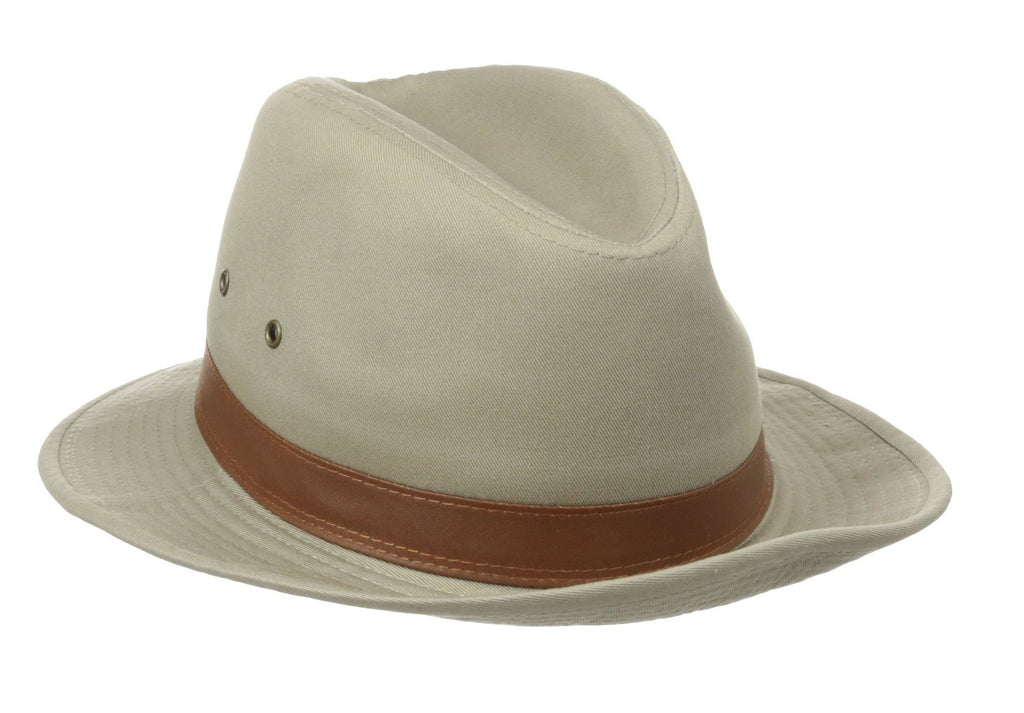 Dorfman Pacific:  1 Piece Canvas Leather Trim Safari Hat Khaki