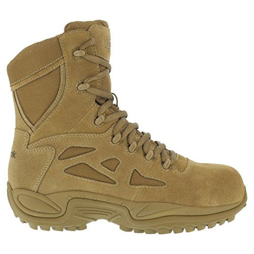 "Reebok Boots: Men's Military 8"" Rapid Response RB8850 Side Zip Boot - Coyote"