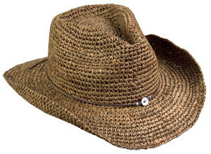 Broner Tobacco Color Crocheted Raffia Western