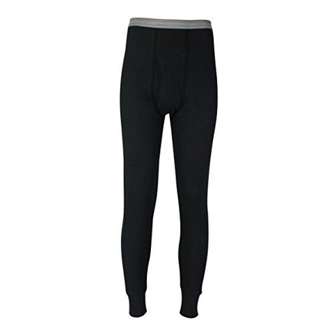 Indera Heavyweight Cotton Knit Thermal Long Underwear Bottoms - Black