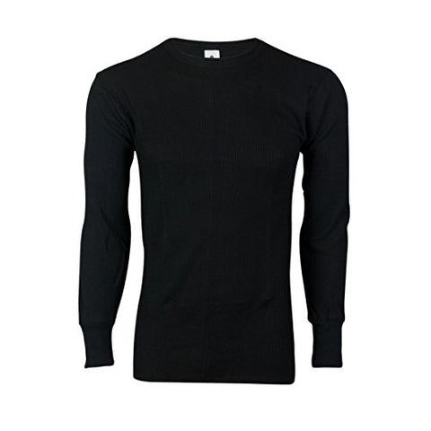 Indera Heavyweight Cotton Knit Thermal Long Underwear Shirt - Black