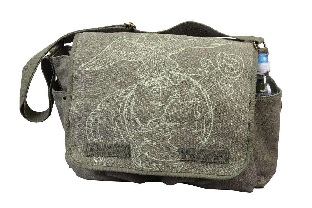 Rothco Bags: Vintage Canvas Messenger Bag - OD w/ Subdued USMC Globe & Anchor Print