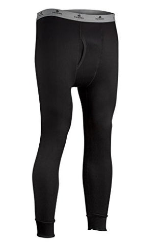 Indera Men's Military Weight Fleeced Polyester Thermal Underwear Pant - Black
