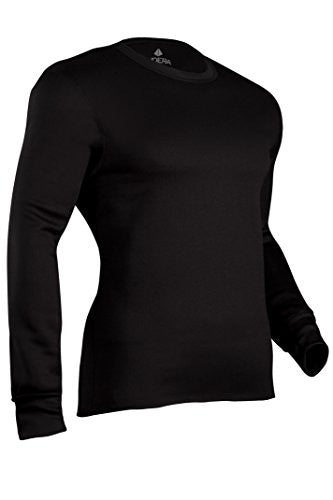 Indera Men's Military Weight Fleeced Polyester Thermal Underwear Top - Black