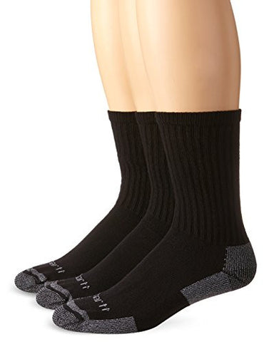 Carhartt Men's 3 Pack All-season Cotton Crew Work Socks - Black