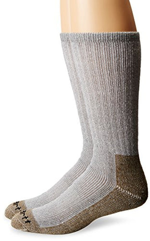 Carhartt Men's 2 Pack Full Cushion Steel-toe Synthetic Work Boot Socks - Heather Grey
