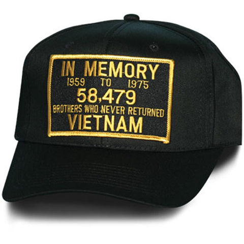 MP Hats: In Memory Vietnam Patch Black Ball Cap