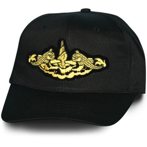 MP Hats: US Navy Submarine Dolphin Gold Patch Black Ball Cap