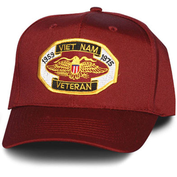 MP Hats: Vietnam Vet 1959 to 1975 Patch Maroon Ball Cap