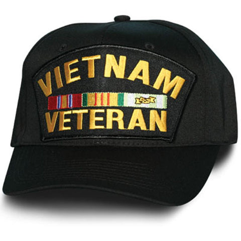 MP Hats: Vietnam Veteran with Ribbon Patch Black Ball Cap