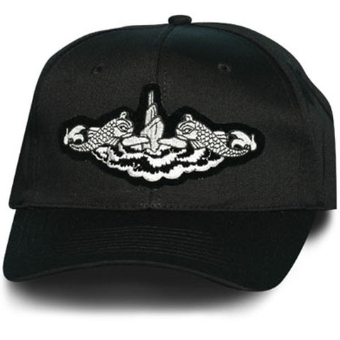 MP Hats: US Navy Submarine Dolphin Silver Patch Black Ball Cap