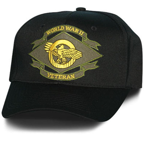 MP Hats: Ruptured Duck WWII Veteran Patch Black Ball Cap