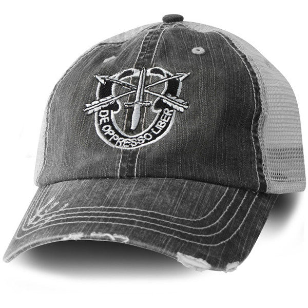 163bc490 MP Hats: Special Forces Direct Embroidered Distressed Black Mesh Ball Cap