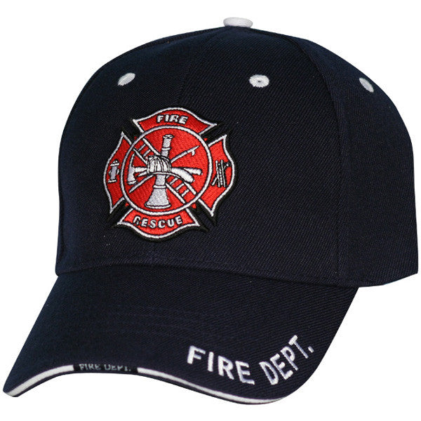 MP Hats: Fire Dept 3D Multi Position Direct Embroidered Sandwich Bill with Woven Label Navy