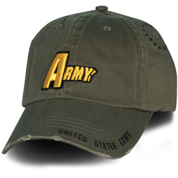 50c47fb6 MP Hats: Army 3D Multi Position Frayed Bill Direct Embroidered Woodland  Green Ball Cap
