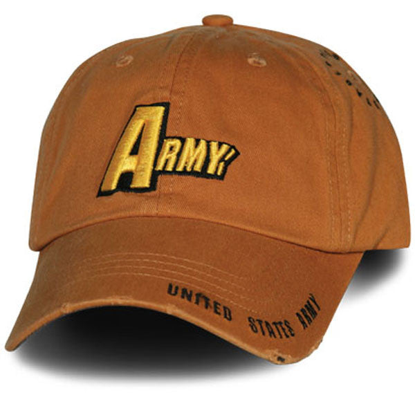 MP Hats: Army 3D Multi Position Frayed Bill Direct Embroidered Woodland Orange Ball Cap