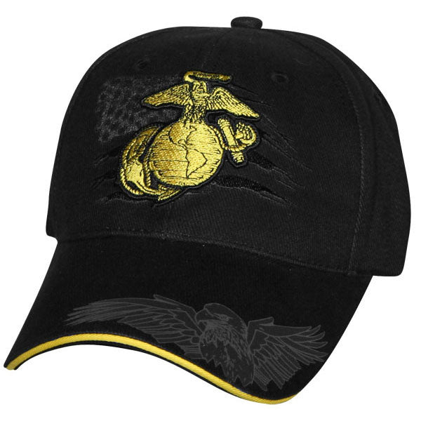 e588587f MP Hats: Marine EGA with USA Flag & Eagle Embroidered Ball Cap