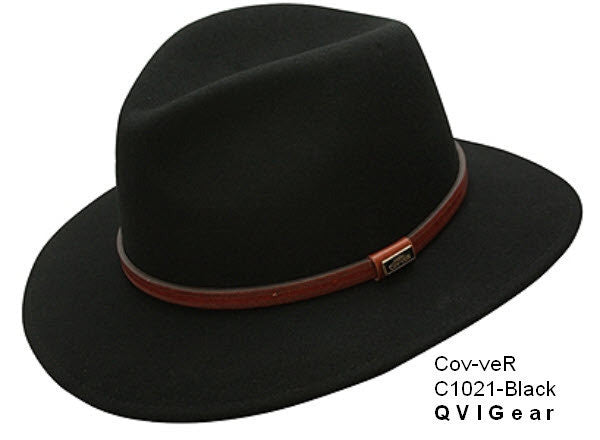 Conner Hats:  Wool Safari Fedora Waterproof Crushable Leather Band
