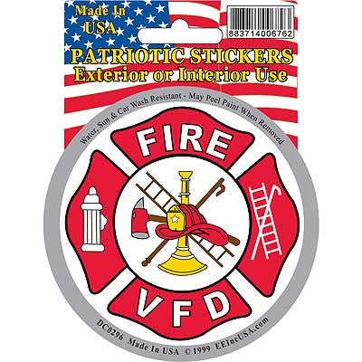 "STICKER: FIRE DEPARTMENT, VFD (3-1/4"")"