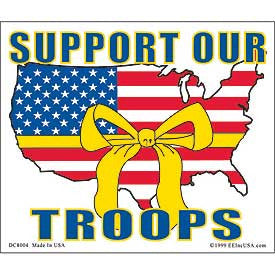 "STICKER: SUPPORT OUR TROOP (CLEAR VINYL) (4"" X 4-3/4"")"