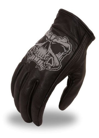 First Manufacturing Men's Short Gloves With Reflective Skulls And Gel Palm
