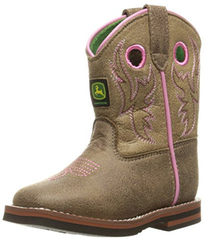 John Deere Inf Light Brn Wstitch Po Pull-on Boot - Brown/Pink