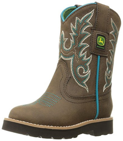 John Deere Chi Trim Po Pull-on Boot - Brown/Turquoise