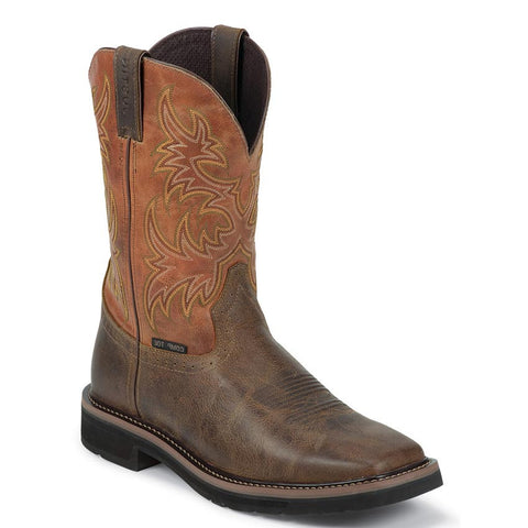 "Justin Boots: Men's Stampede Rugged 11"" Composition Toe Western Work Boot"