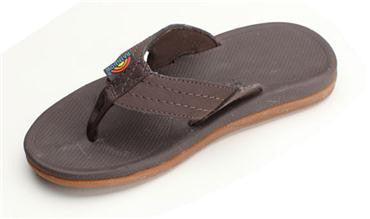 Rainbow Kids Capes - Molded Rubber Sandal with a Suede Strap Dark Brown