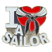 "Pins: USN Navy I Heart A Sailor (1"")"